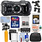 Ricoh WG-50 Waterproof/Shockproof Digital Camera (Carbon Grey) with 32GB Card + Battery & Charger + Diving LED + Buoy Handle + Bike Mount + Case + Kit