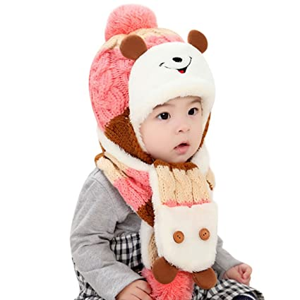 Ensemble Set de 2 pièces Noël Voiture Chapeau Bonnet Tricot Pompon Bébé  Fille Garçon Echarpe 2459e45d56f