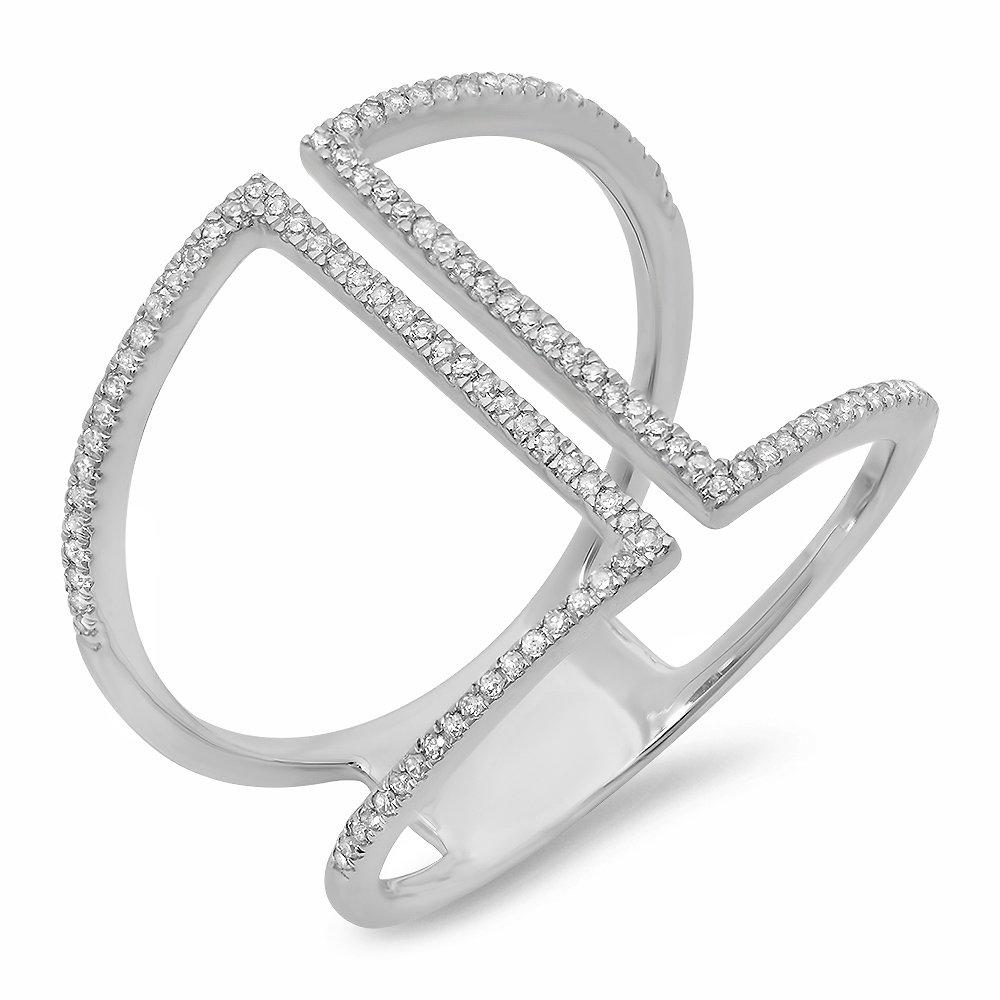 0.30 Carat (ctw) 14K White Gold Round White Diamond Ladies Geometric Fashion Ring 1/3 CT (Size 8)