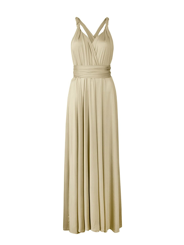 Champagne Clothink Women's Congreenible Wrap Multi Way Party Long Maxi Dress