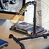 Injuicy Lighting Antique Retro Industrial Rustic Steampunk Water Piping Edison Wrought Iron Metal Led Desk Top Table Lamp Steam Punk Bed Side Bedroom Living Room Lighting Decor