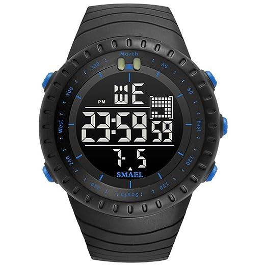 ETOWS® Reloj Deportivo Militar Deportivo para Hombre 50 m Impermeable Relojes para Hombre de Goma LED Reloj de Pulsera Resistente a los Golpes Casual Reloj ...