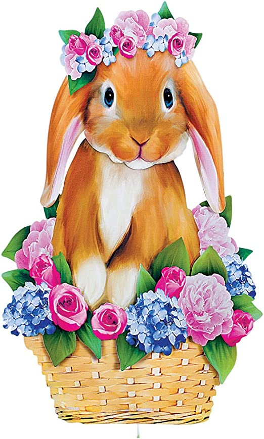 Festive Outdoor Lawn Decorations Collections Etc Bunny in a Flower Basket Easter Yard Stake