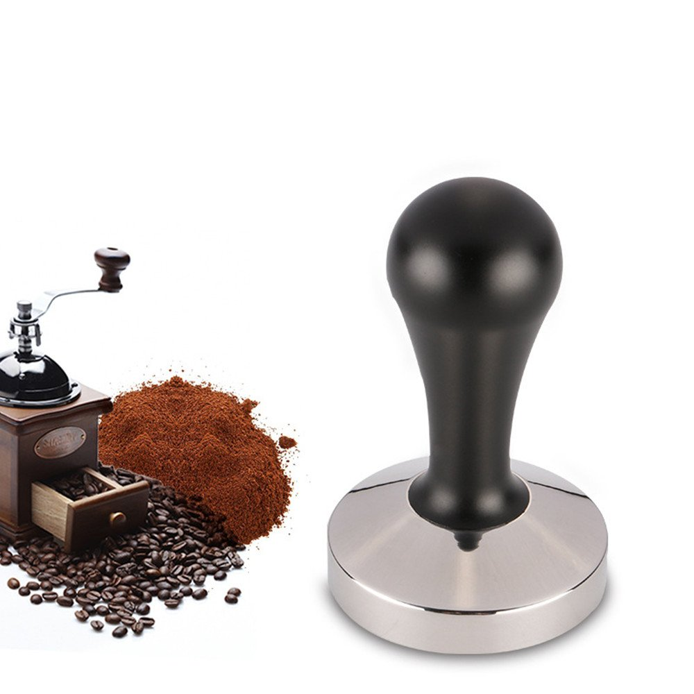 TraderPlus Adjustable Wooden Handle Coffee Tamper, Espresso Presser with 58 mm Stainless Steel Flat Base - Barista Tools (Aluminum Handle - Black)