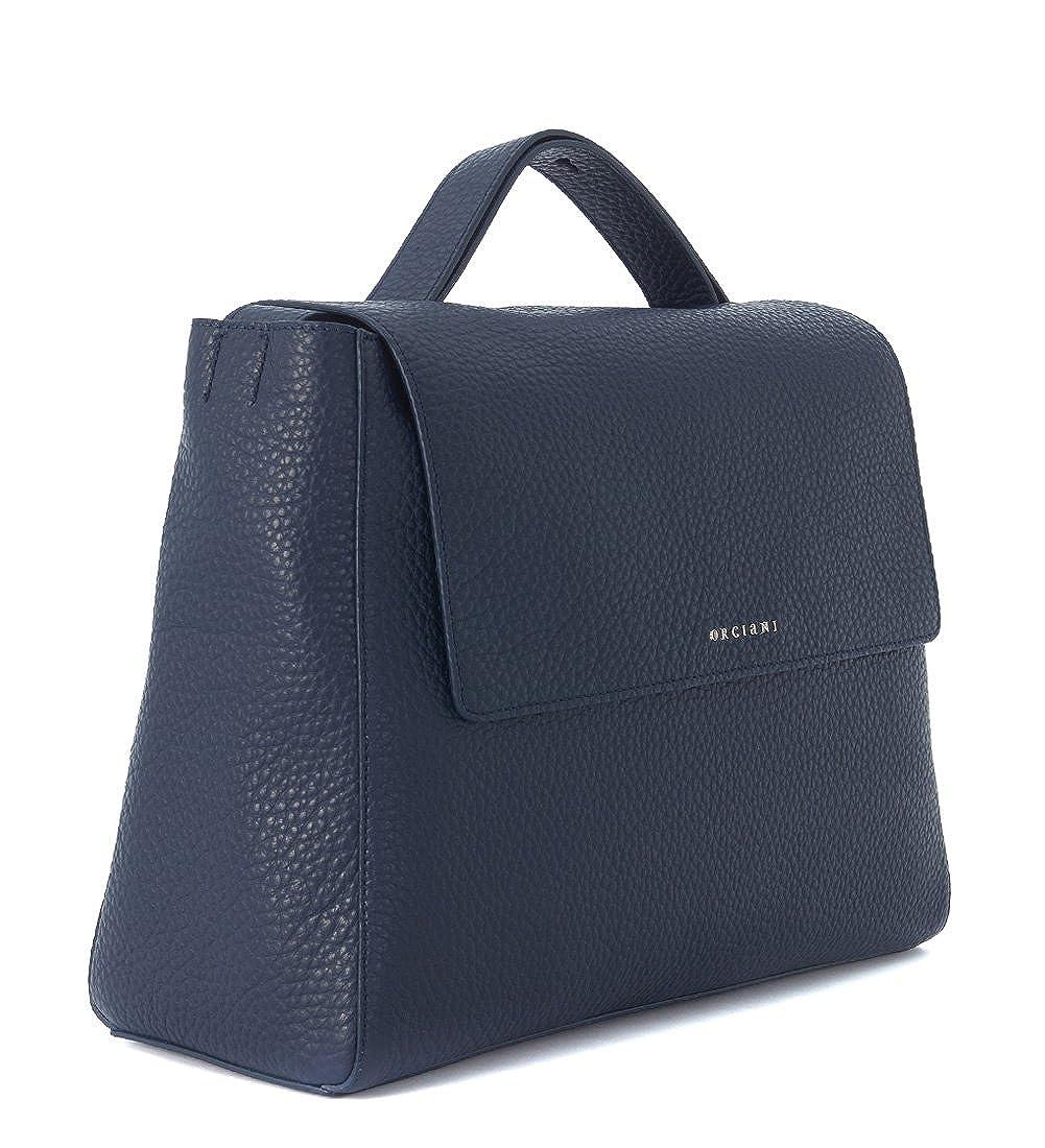 721d02e8798cf Orciani Handtasche aus genarbtem Leder Blau  Amazon.de  Bekleidung