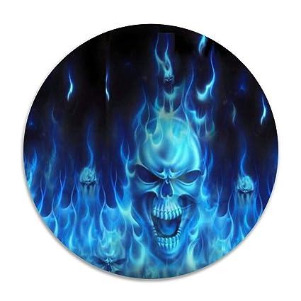 HYTRG Blue Flames Skull Round Seat Cushion Non Skid Machine Washable Round  Chair Cushion 16 Inch