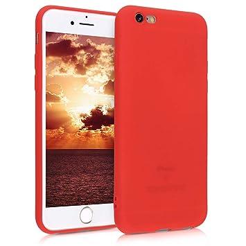 kwmobile Funda para Apple iPhone 6 / 6S - Carcasa para móvil en [TPU Silicona] - Protector [Trasero] en [Rojo neón]