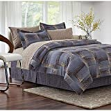 Purple and Cream Bedding Sets 8pc Purple King Comforter Set,Geometric Brown King Bedding,Bed in a Bag Modern Contemporary Ivory Cream Beige Tan Blue Square Pattern Checkered Reversible Transitional Microfiber Polyester Loft