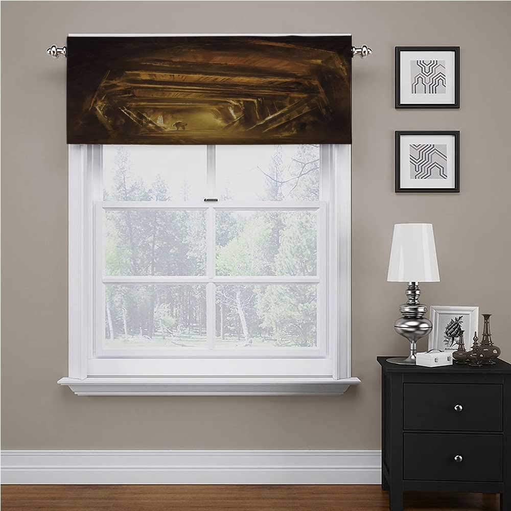 "Interestlee Cartoon Bedroom Blackout Valance Tier Art of a Painting of Abandoned Mine with Explorer Mystic Adventure Print Tailored Scalloped Valance/Swags Golden and Brown, 42"" x 18"""