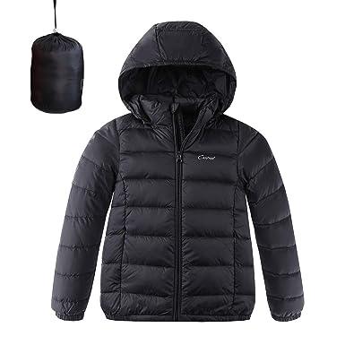 f1fc3bcf62fd Amazon.com  CUNYI Boys Girls Hooded Portable Lightweight Down Jacket ...