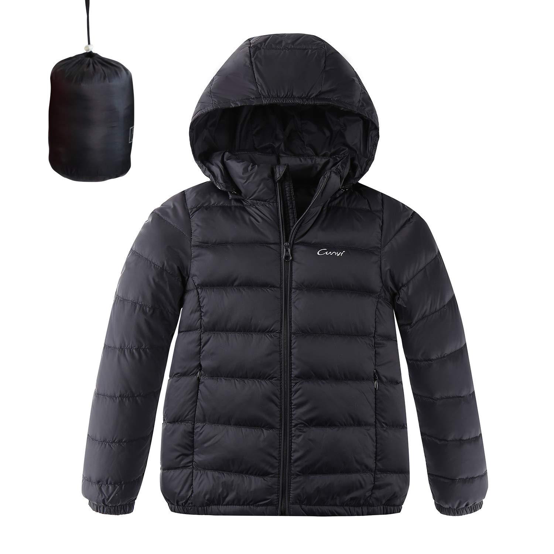 CUNYI Boys Girls Hooded Portable Lightweight Down Jacket Coats, Black, 5-6 T/ 120