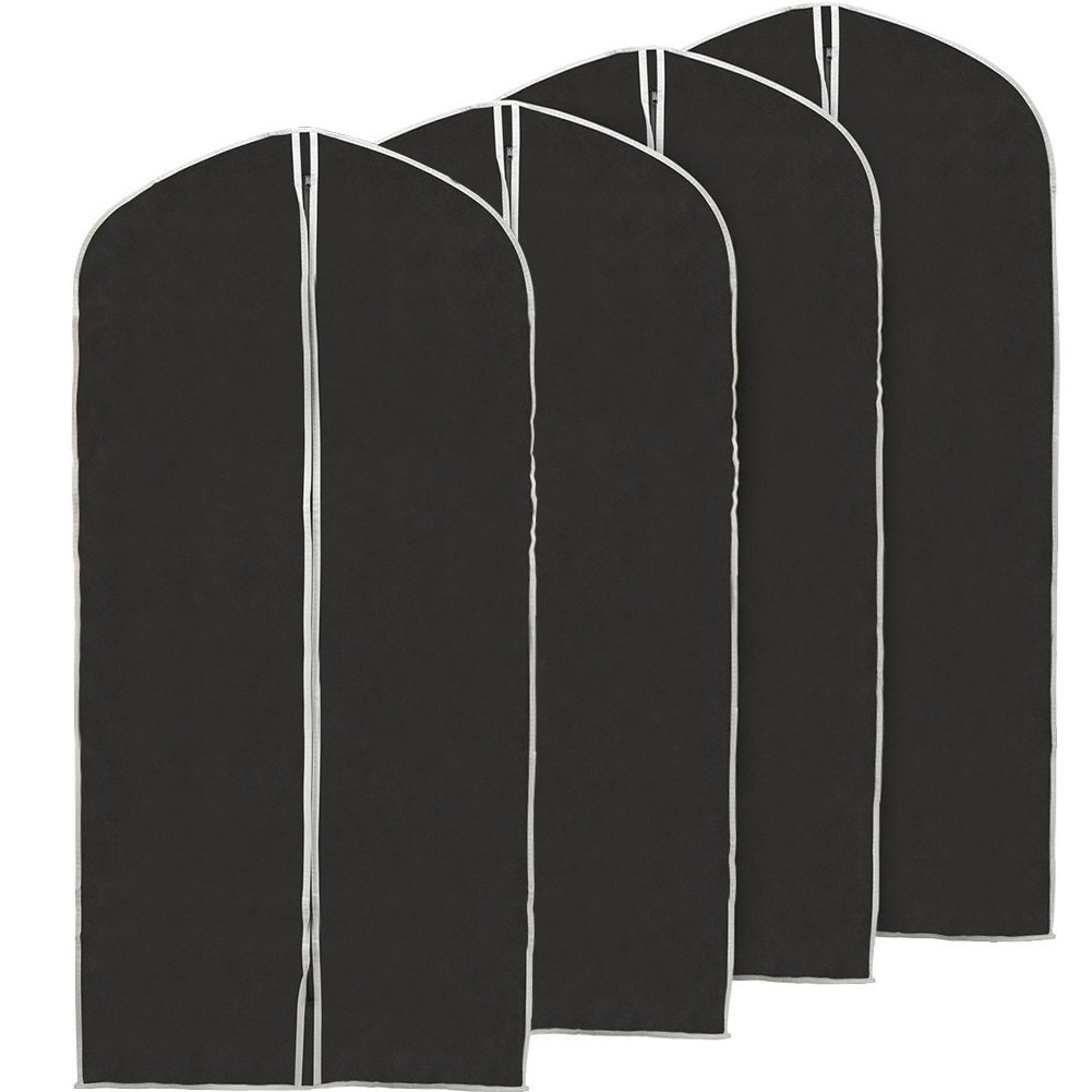 EZOWare 60 inch Garment Bag, Black Foldable Breathable Garment Suit Dress Jacket Coat Shirt Dust Cover Travel Bag - Set of 4