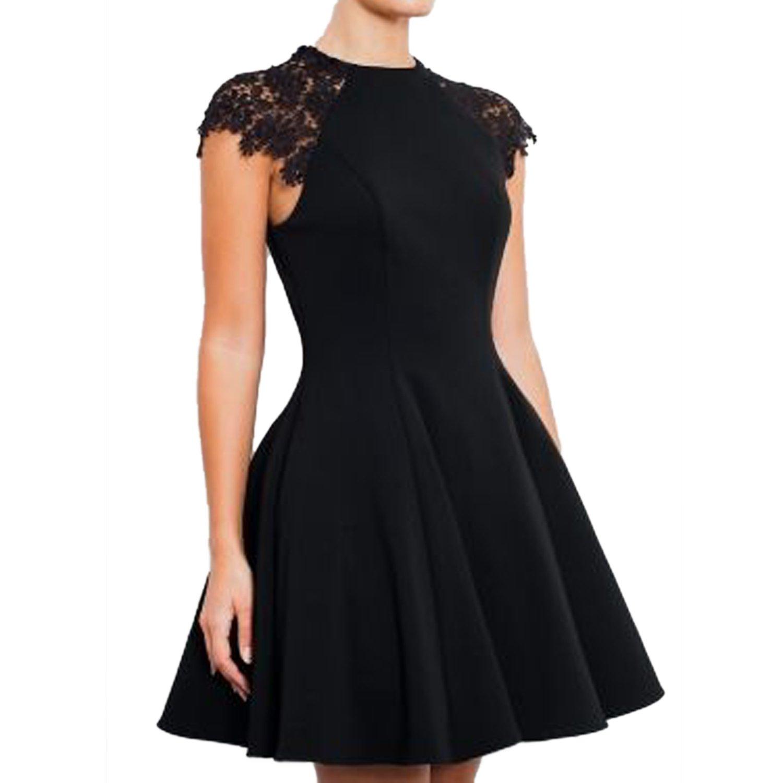 SUNNOW Women's Sleeveless Lace Patchwork A Line Short Mini Casual Dress (M, Black)