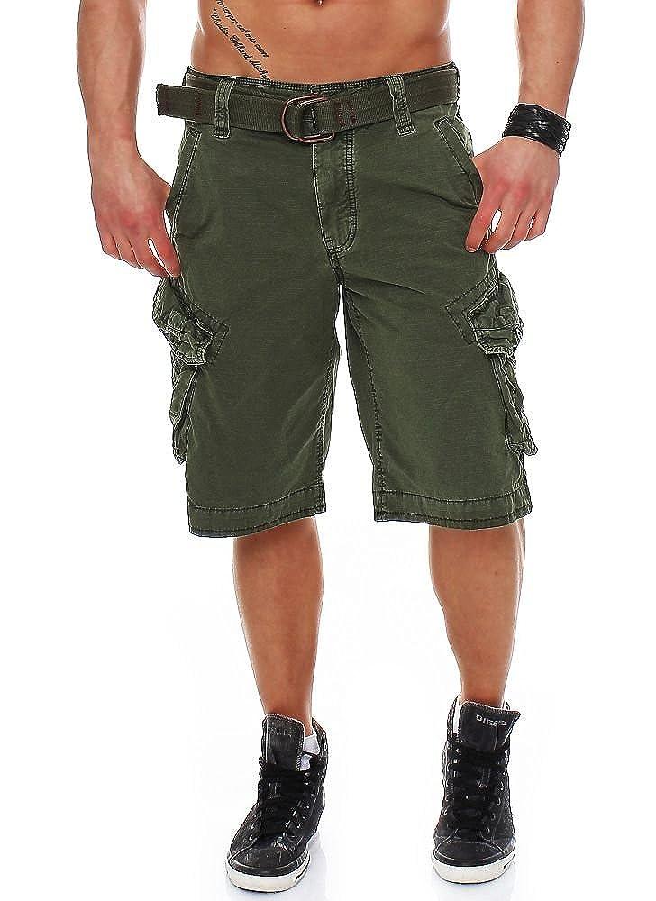 Olive Jet Lag Herren Cargo Shorts Take off 3 (16) mit Gürtel
