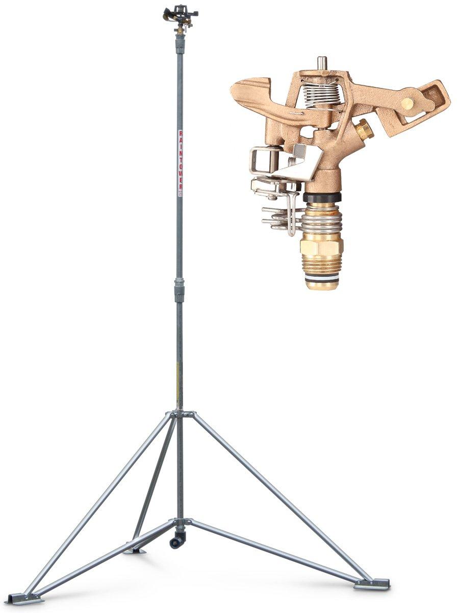 IrrigationKing RK-1A6 Raintower Sprinkler 6' Tripod Stand, 1/2'' Brass Sprinkler, Part/Full Circle, Adjustable to 41'' Or 72''
