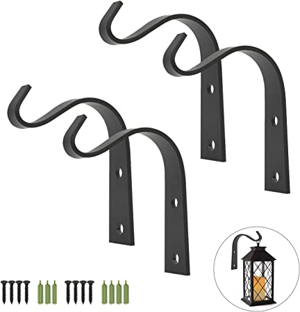 10 Pack Wall Mounted Rustic Wrought Iron Bracket Heavy Duty Hanger Hooks for Hanging Lantern Planter Bird Feeders Home Decor Screws Included Black Iron Wall Hooks