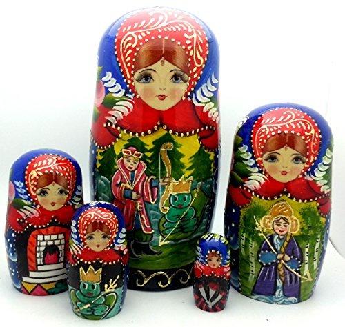 BuyRussianGifts Frog Princess Russian Matryoshka Hand Painted Fairy Tale Nesting Doll Set / 7