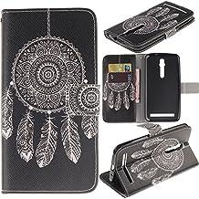 Zenfone 2 Case Asus Zenfone 2 Kickstand Case,Bat King Pu Leather Case Magnet Wallet Credit Card Holder Flip Kickstand Cover Case for Asus Zenfone 2 ZE550ML[Black Datura]