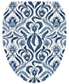 Toilet Tattoos, Toilet Seat Cover Decal,Blue Damask Size Elongated