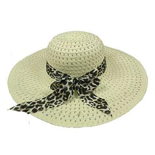 6563849baf649 SILVERFEVER Women Summer Floppy Hat Wide Brim UV Sunblock UPF 50 Fits All  (Beige Cheetah
