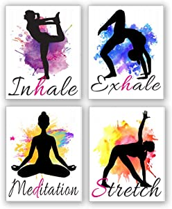 "Set of 4 Yoga wall art print posters, Watercolor Yoga Poster with Inhale Exhale Meditation Stretch ,India Yoga Wall Art canvas for Art Home Gym Exercise bedroom Home Decor.(Unframed,8""X10""inches) ."