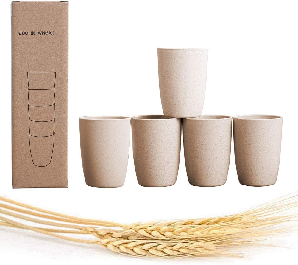 NAWOVAO Wheat Straw Cups Unbreakable Bathroom Drinking Glass for Kids(12 OZ), Eco-Friendly Reusable Tumbler Biodegradable/Dishwasher Safe, 5-pack Beige Color