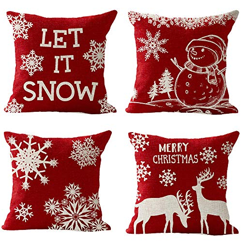 4 Pack, Happy Winter Red Snowflake Let It Snow Snowman Christmas Tree Animal Elk Merry Cotton Linen Square Throw Waist Pillow Case Decorative Cushion Cover Pillowcase Sofa 18