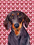 Caroline's Treasures LH9133CHF Dachshund Hearts Love Valentine's Day Flag Canvas, Large, Multicolor Review