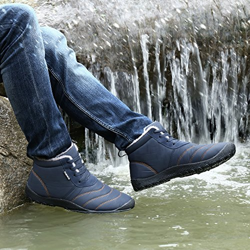 Licy Life-UK Unisex Adult Women Men Snow Boots Winter Slip On Faux Fur Warm Lined Booties High Top Closed Fluffy Cotton Shoe Lightweight Anti-Slip Boot Blue lt14I