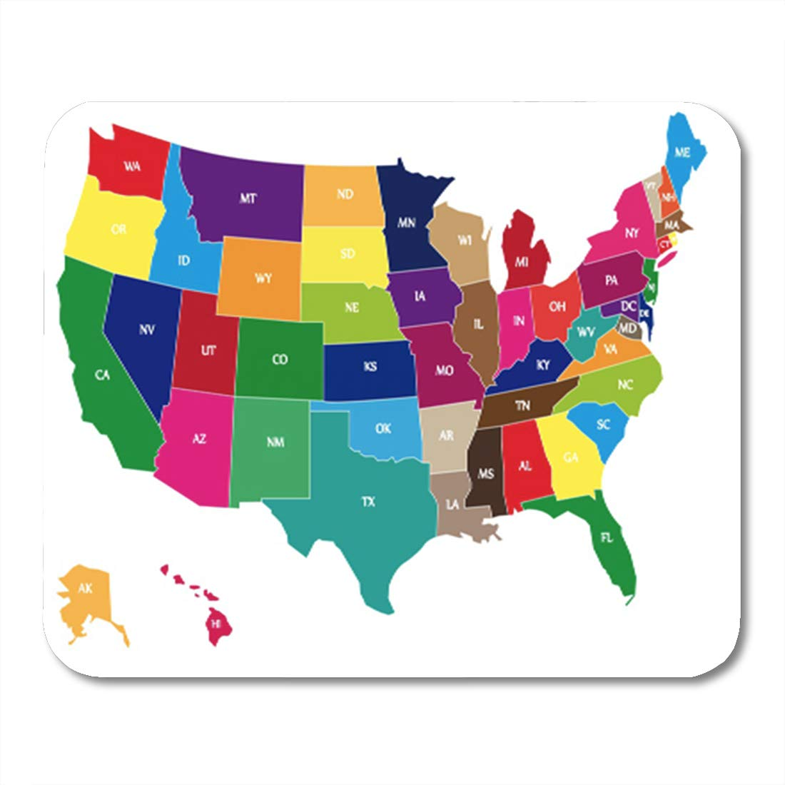 Semtomn Gaming Mouse Pad American USA Colors Map Borders of States and  Shorts Name 9.5\