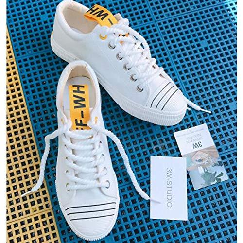 Blu Autunno ZHZNVX Nero Bianco Primavera da Scarpe piatto Tacco basse Comfort donna Sneakers White Canvas qOSAXfO