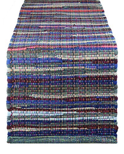 Cotton Craft - Hand Woven Reversible Cotton Multi Chindi Braid Table Runner - 14x72 Inches - This Runner is made from multi color re-cycled yarns, actual product may vary in - Runner Rug Craft