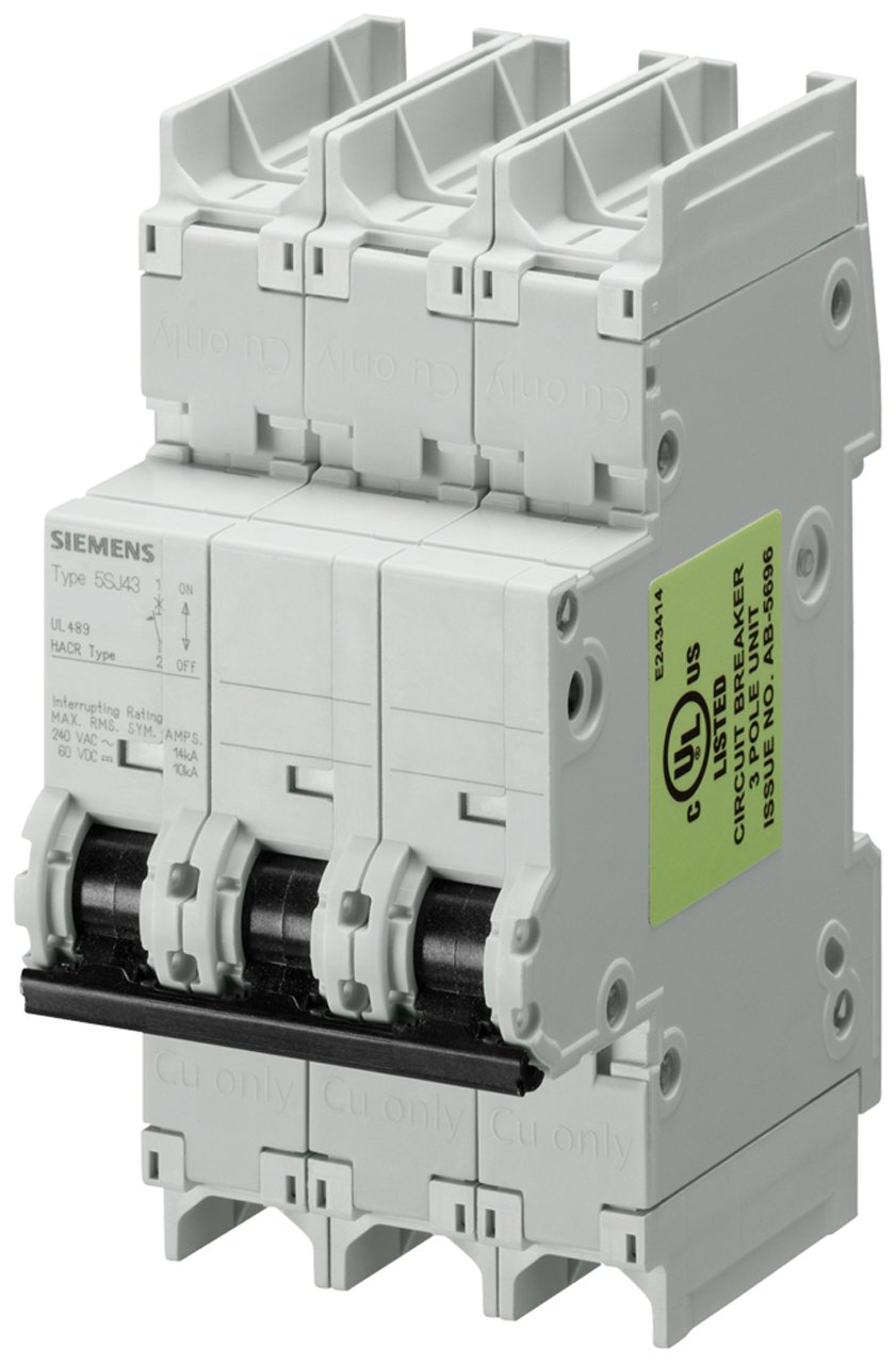 125 VDC DIN Rail Mounted 1.6 Ampere Maximum Type HSJ 240 VAC Tripping Characteristic D UL 489 Rated Siemens 5SJ43158HG41 Miniature Circuit Breaker 3 Pole Breaker
