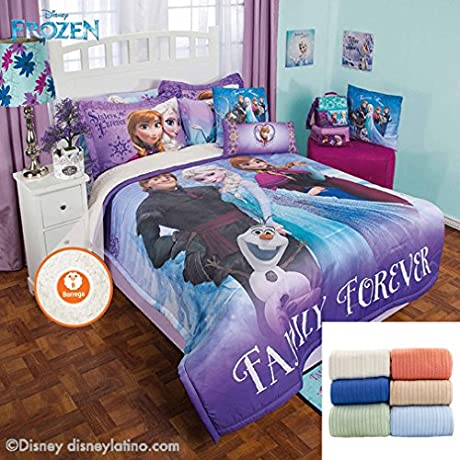 Disney Frozen Family 6 Pc Fleece Comforter Set Twin Bundled With Cozy Cotton Blanket Full Queen
