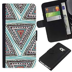 iBinBang / Flip Funda de Cuero Case Cover - Mano patrón dibujado Pluma Azul Triángulo - Samsung Galaxy S6 EDGE SM-G925