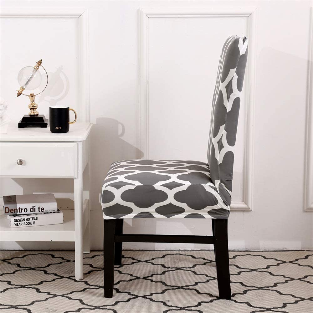6er Set Luzoeo Housse de chaise stretch lavable pour salle /à manger amovible avec motif floral gris