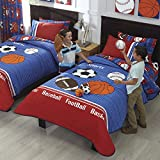 ALL SPORTS TEENS BOYS CUTE COLLECTION REVERSIBLE COMFORTER SET,SHEET SET AND WINDOWS PANELS 13 PCS QUEEN/FULL SIZE