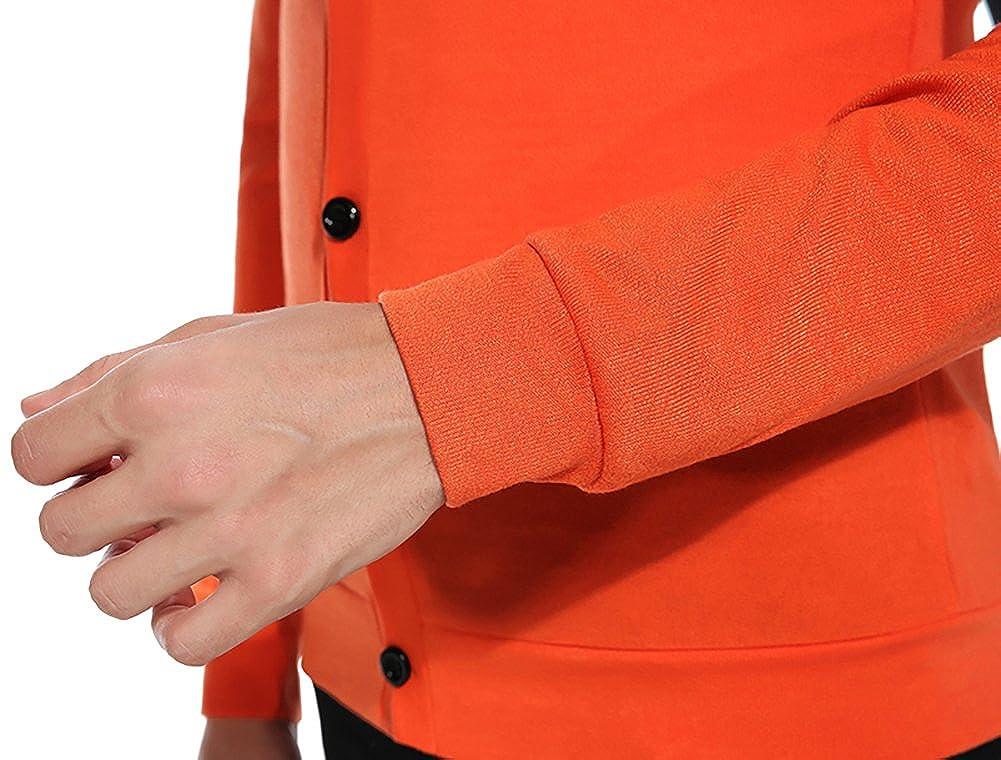 Cardigan in Maglia Uomo Scollo a V Pullover Manica Lunga Maglione con Bottoni