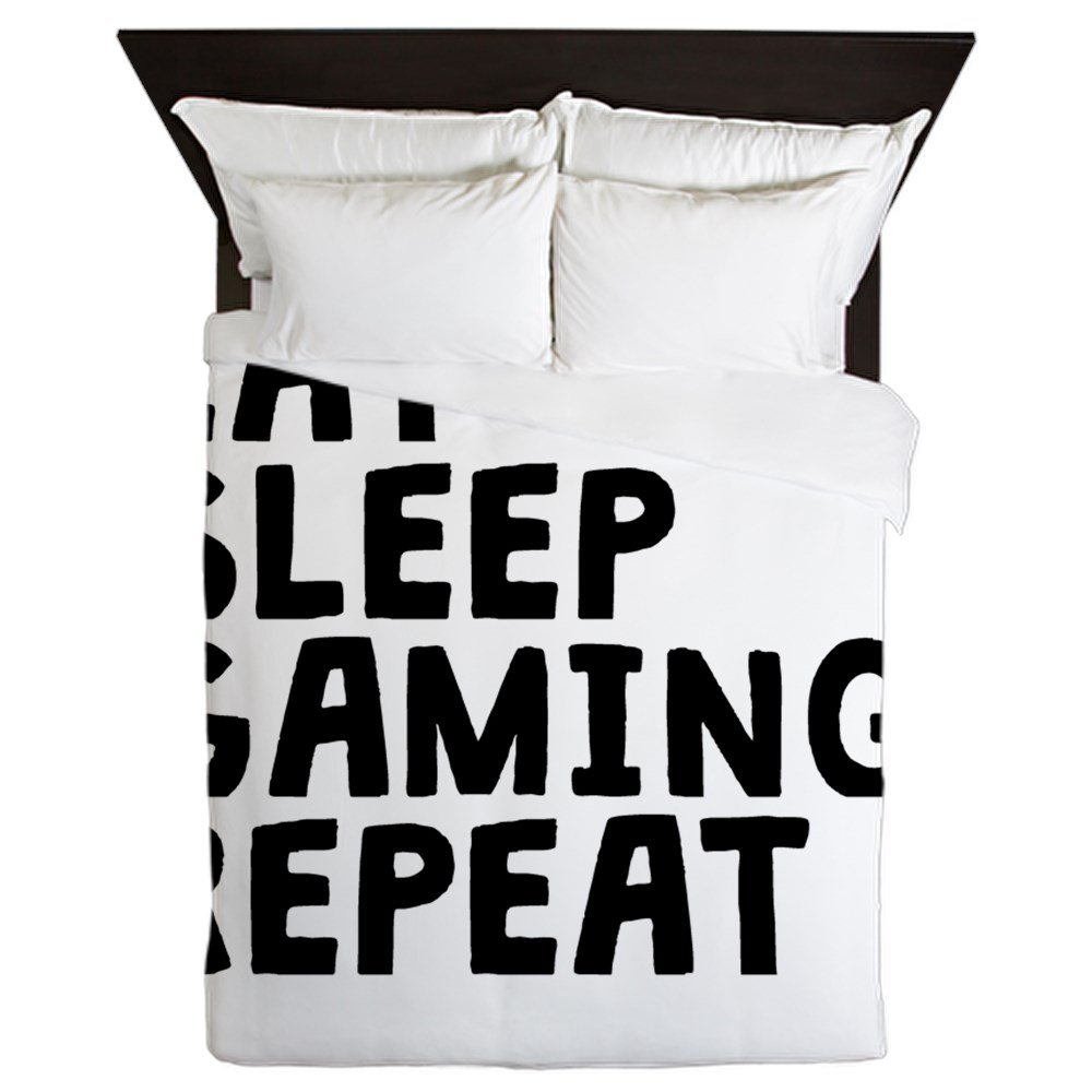 CafePress - Eat Sleep Gaming Repeat - Queen Duvet Cover, Printed Comforter Cover, Unique Bedding, Microfiber