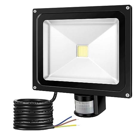 GREESUN 30W Foco LED con Sensor Movimiento de alto brillo 2700LM, Blanco Frío 6000K Proyector