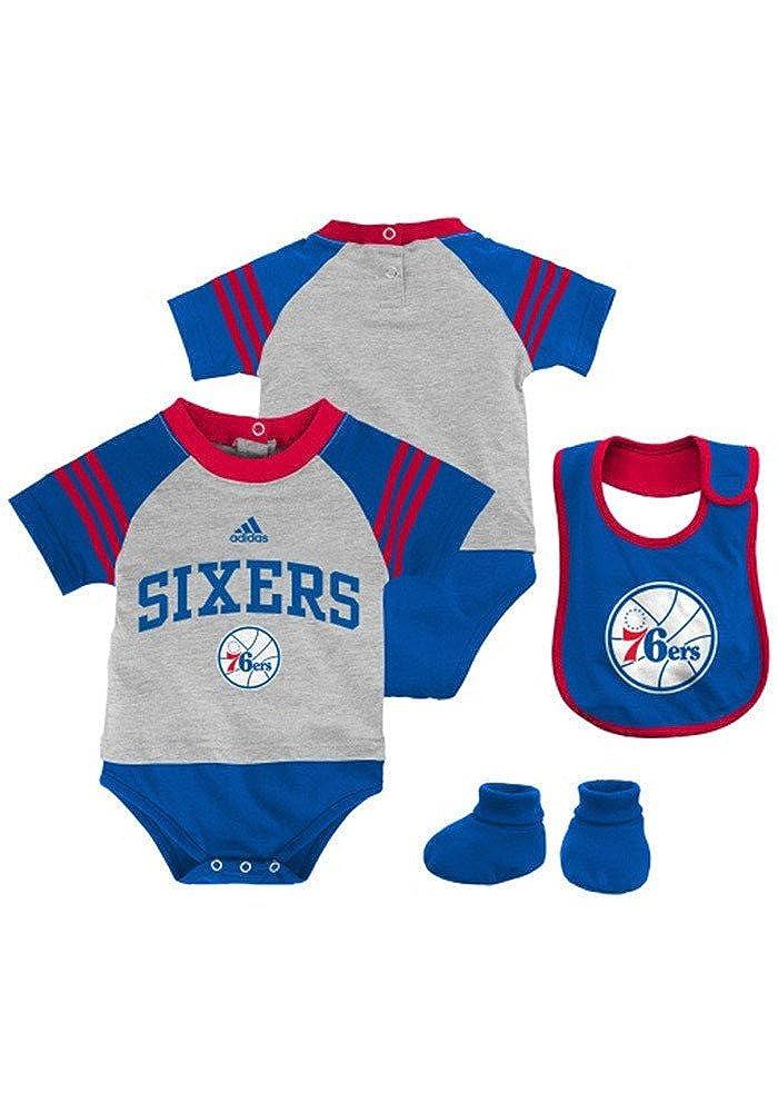 Philadelphia 76ers Infant Grey//Blue 3 Piece Creeper Bib /& Bootie Set