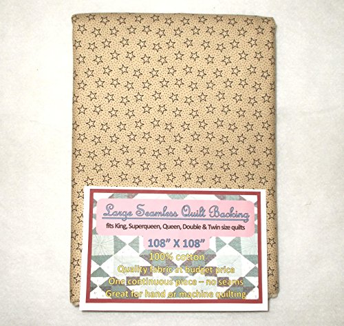 - Quilt Backing, Large, Seamless, Black on Tan Stars & Dots, C49187-A04