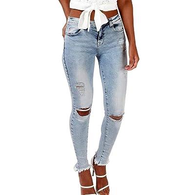 ADELINA Estiramiento De La Mujer con Agujeros Grietas Pantalones Ropa Vaqueros Pitillo Clásicos Pantalones Bolsillos Delanteros Abotonados Pantalones Pantalones (Color : Hellblau, Size : L): Ropa y accesorios
