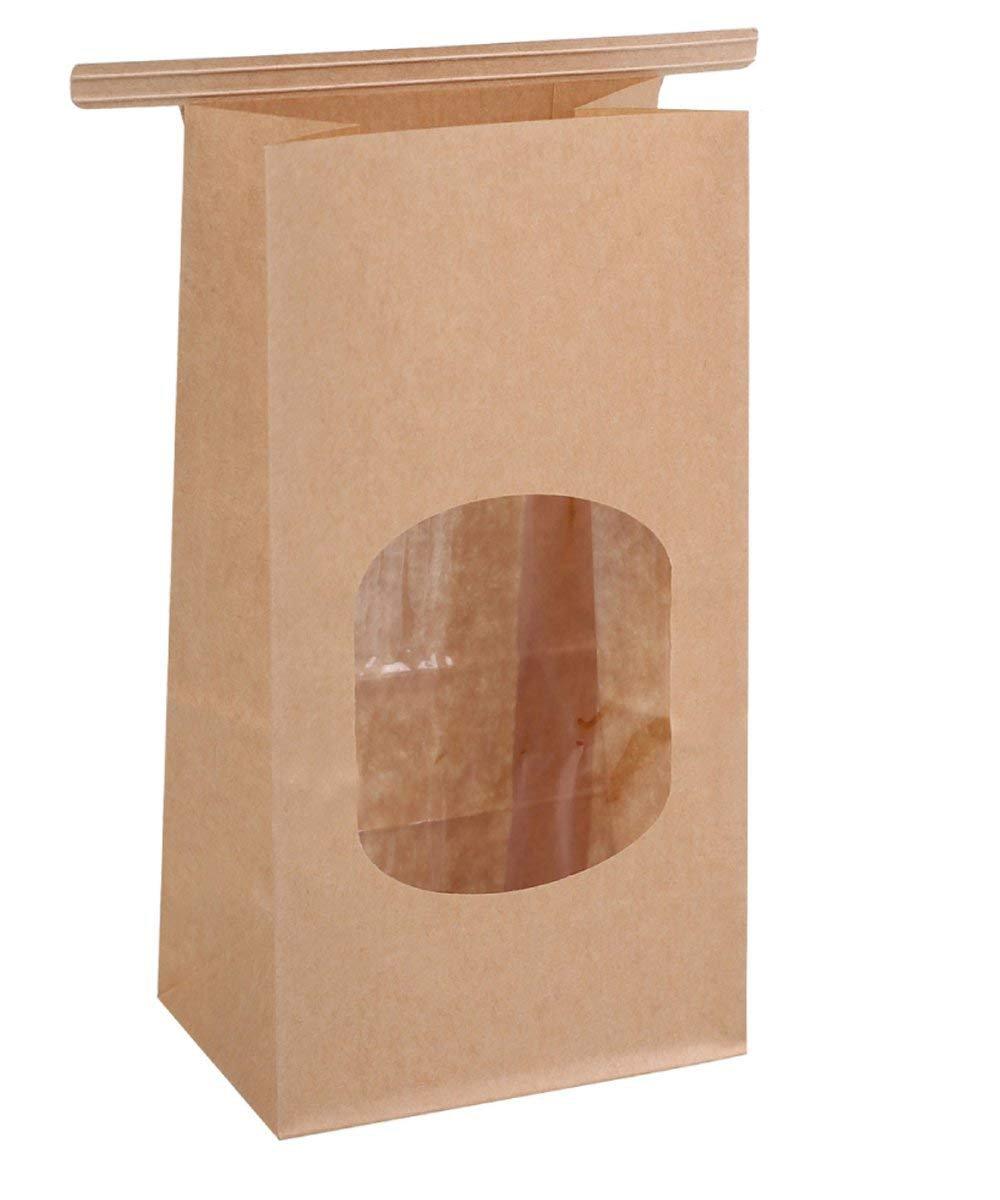 BagDream Bakery Bags Wax Kraft Paper Bags 50Pcs 3.54x2.36x6.7'' Tin Tie Tab Lock Bags Brown Window Bags