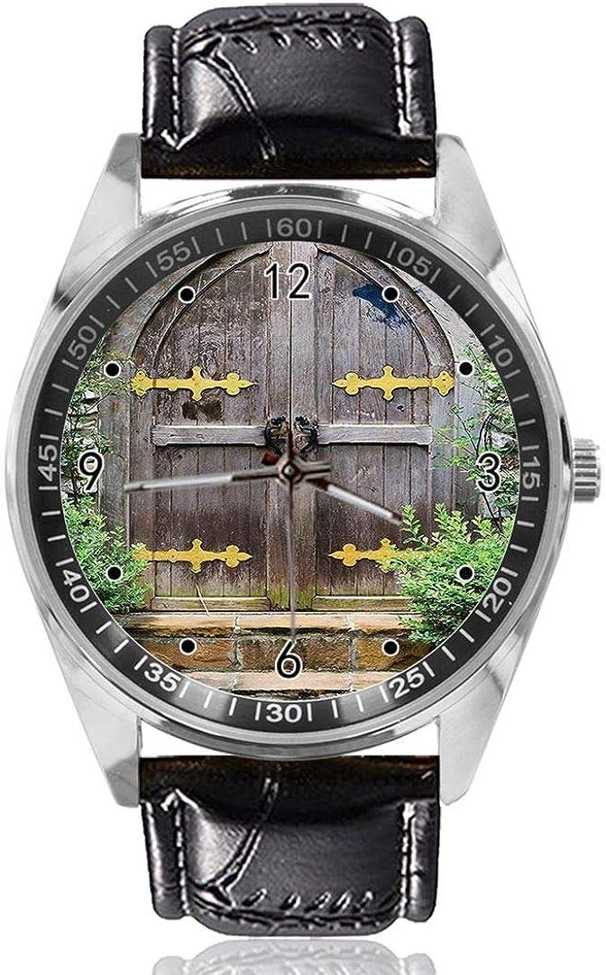 Age Heritage Reloj de Pulsera para Puerta de Hadas, con diseño Personalizado, analógico, de Cuarzo, Esfera Plateada, Correa de Piel clásica, para Hombre y Mujer