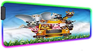 "Kids RGB Gaming Mouse PadFunny Animals on School Bus Large Led Mouse Mat,31.5""X 11.8"",Non-Slip Rubber Base for MacBook, PC, Laptop, Desk"