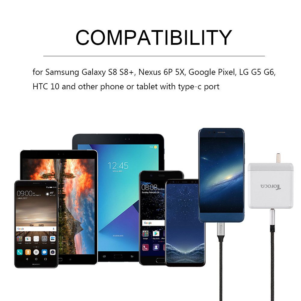 USB-C Phone Charge Cable, Type-C to USB 3.0 Charging Data Line Braided Nylon Power Wire for Samsung Galaxy S8 S8+, Nexus 6P 5X, LG G5 V20, HTC 10, Google Pixel and More-3PCS 3ft x 1, 6ft x 1, 1ft x 1