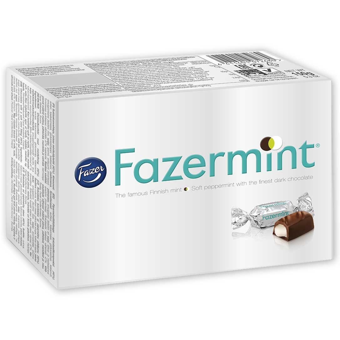 Fazermint Dark Chocolate Fazor Mints with a Soft Peppermint Filling - Candy from Finland 5.3 Ounce - Pack of 6 by Fazer
