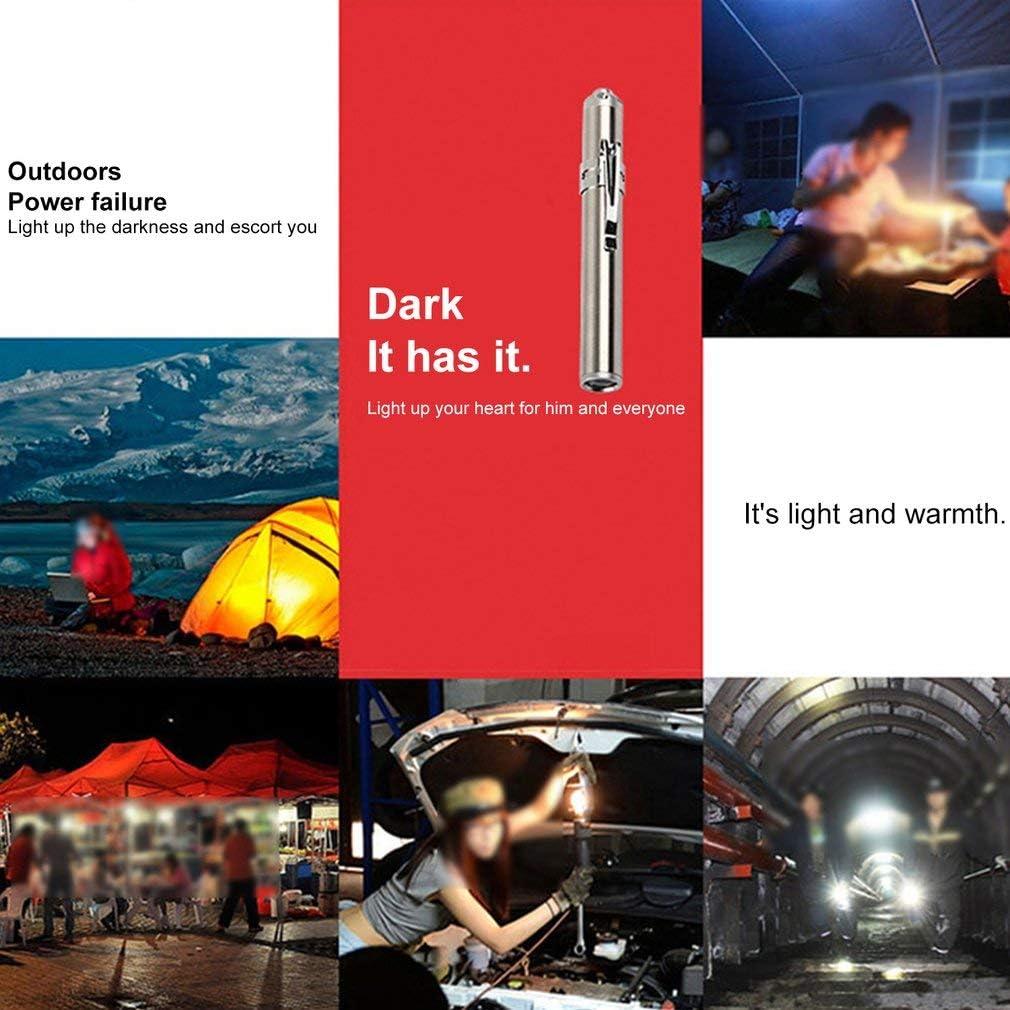 Sunnyday Poche /étanche lampes de poche stylo de poche en acier inoxydable LED lampe de poche super lumineux poche de travail pour camping durgence