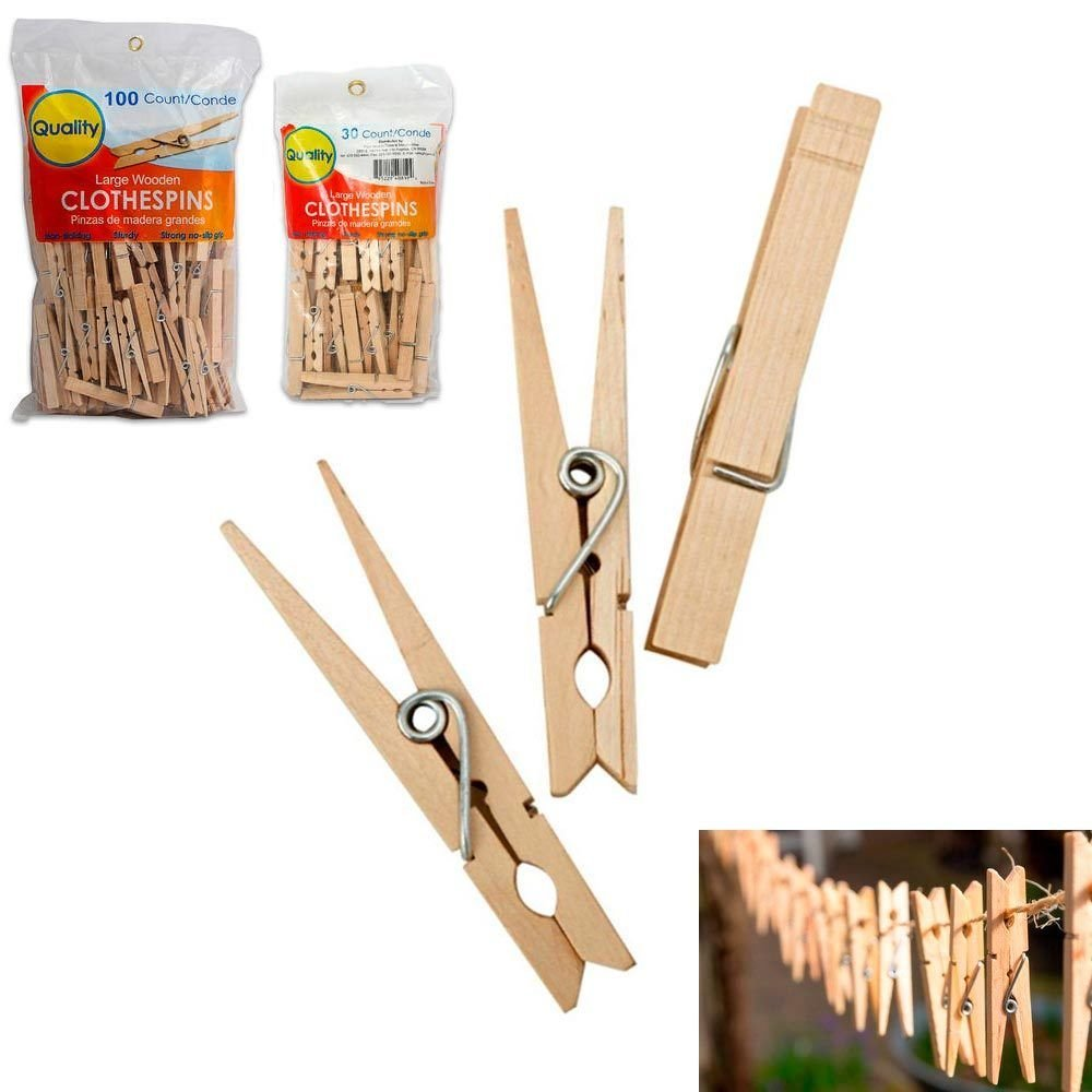 Amaethon Clothes Pins Laundry Clips Wooden Pegs Large Spring Clothespins Wood 3 1/4 Inch 130 Pcs (130)